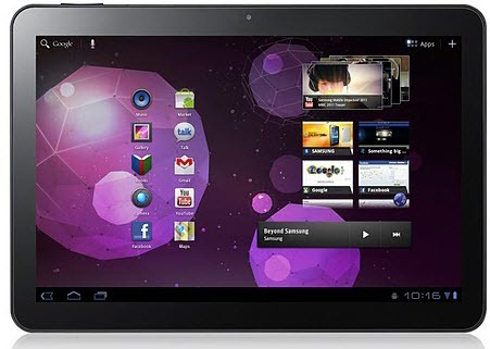 Galaxy Tab 10.1 Front Review: Samsung Galaxy 10.1   video and specs